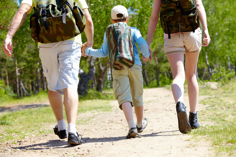 Tips for hiking with kids. Tip #5: . Bring necessary items such as a first aid kit, snacks, sunscreen, an extra set of clothing, bug spray, anti-bacterial wipes, and lots of water.
